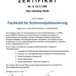 Zertifikat: Fachkfraft für Schimmelpilzsanierung