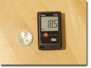 Datenlogger im Vergleich zu einer 2 Euro Münze